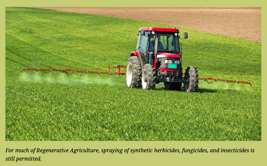 spraying of synthetic herbicides, fungicides, and insecticides